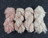 Handspun Art Yarn Knitting Weavers Pack 4 Mini Skeins Collection light rosy pink blush