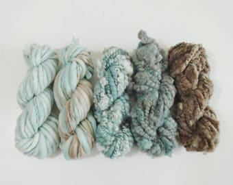 Seashore Handspun Art Yarn Pack 5 mini skeins aqua blue tan brown