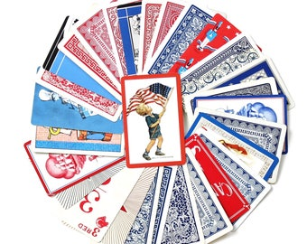 Vintage Patriotic Red White and Blue 4th of July Playing Card Collection