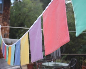 For Chandra Only 12 Squares Bunting Flag Banner, Custom Colors, Solid Fabric, Extra Large Square Shaped Flags. Prayer Flags.