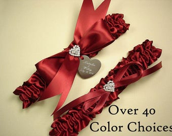 Personalized Wedding Garter Set with a Brilliant Rhinestone Heart - Choose from Over 40 Color Choices