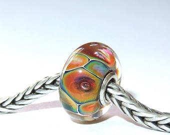 Luccicare Lampwork Bead - Opal II -  Lined with Sterling Silver