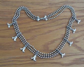 "Goldette Necklace Silver Tone,Three Strand, Native Inspired  Squash Blossom Design 25"" Long,Signed"