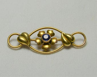 "Antique Blue Brooch,Signed 1/20 12k GF signed with ""Arrow through  C A""  Gold Filled,Flower,Leaves, Something Blue for the Bride"