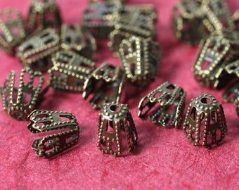 Antique brass bead cap 5mm high, 4x4mm opening, 48 pcs (item ID YWXH01392AB)