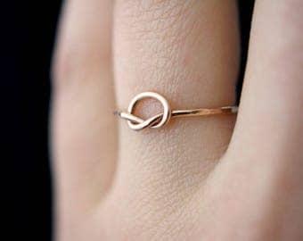 SOLID 14K Rose Gold Knot ring, large 14kt rose gold knot ring, 14k rose gold ring, rose gold infinity ring, 14k gold knot ring