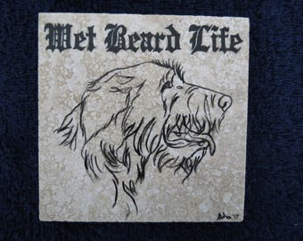 Irish Wolfhound 4 x 4 inch Granite tile Made to order by Shannon Ivins