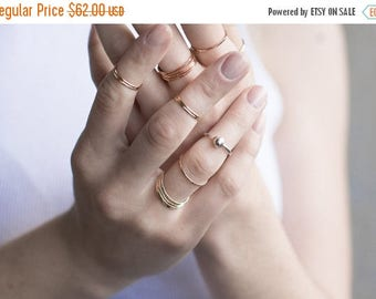 ON SALE Thin 14k Gold Ring Set of 3, 14k Gold Hammered Thin Stacking Rings