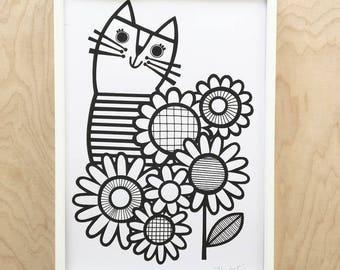 Breton Cat Screen Print by Jane Foster - Scandi monochrome
