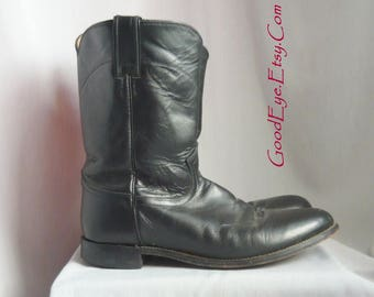 Classic Black Leather JUSTIN Roper Boots / Men size 10 .5 ee  Eu 44  UK 10 wide width / Western Rockabilly Ankle Boot / made Mexico