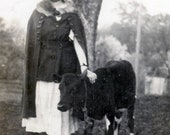 vintage photo 1920 Young Lady with Beautiful little CAlf by Tree