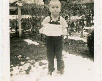Vintage photo 1960 Little Boy in Overalls Holds his Birthday Cake Square Snapshot photo