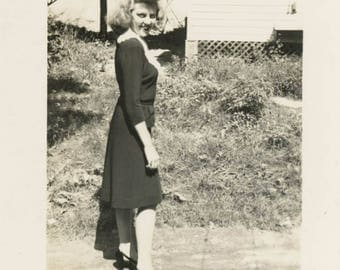 vintage photo 1940s Blonde Woman Turns to Give a Smile