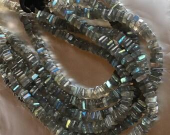 Silvery Grey Gray Labradorite in Heishi Square Gemstone Beads Blue Green Orange Flash Center Drilled