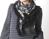 Floral black and white scarf with black mesh ruffles, Wide scarf, Gift for her, Black ruffled shawl, 130cm x 130cm