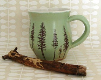 Ceramic Mug - Discounted Second - Ponderosa Pine Trees -  Coffee Mug - Large Mug - Hand Thrown Mug