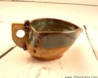 Stoneware Sauce Bowl - Ceramic Gravy Boat - Pouring Bowl - Spouted Dish - Syrup Pitcher - Shino Brown and Sea Green - Ready to Ship  s529