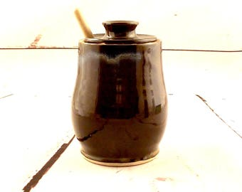 Stoneware Honey Jar - Ceramic Condiment Keeper - Handmade Lidded Jam Jar - Store and Serve - Ready to Ship - Dark Brown / Blue Hints   s524