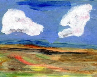 Woven Landscape II //  original  /   painting  /  one of a kind painting on a canvas panel  / cloudy sky two clouds