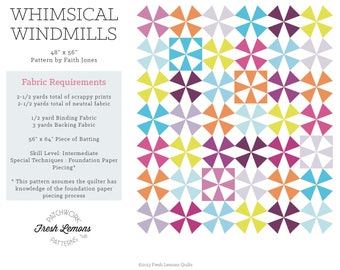 Modern Quilt Pattern - Whimsical Windmills - PDF