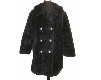 Vintage 1990s Grunge Black Teddy Bear Double Breasted Oversized Peacoat Jacket size M