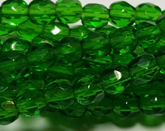 50 - Vintage Czech Fire Polished Glass 4mm Faceted Round Beads - Transparent Emerald Green
