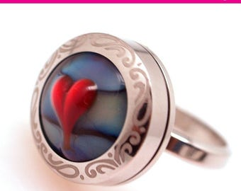 Sale- Milticolor Circlel Ring - Lampwork Jewelry - Glass Bead Jewelry - Interchangeable - gift under 20- UNIQUE Ring