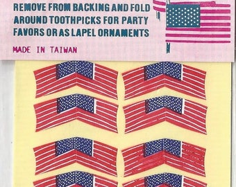Vintage / Adhesive-Back American Flags / Stickers / #60 / New in Package Condition / Dollhouse Garlands / Cupcake Picks