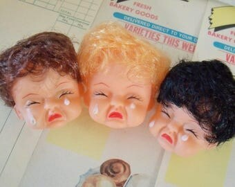 Vintage / Plastic Doll Heads / Three Items / Crying Faces / Blonde,  Brown and Black Hair / Unusual