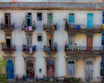 Doors windows Cuban photography street scene Havana door collectibles Cuban architecture cream blues black vibrant wall art Orginal print