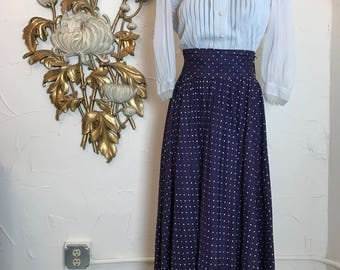 vintage skirt maxi skirt high waist skirt size small vintage skirt 26 waist 1930s skirt polka dot skirt navy blue skirt