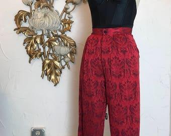 1980s pants novelty print vintage pants 27 waist ankle pants pleated pants 1990s pants high waist pants red pants