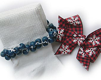 Kathy's Beaded Socks - Red and Navy Buffalo Plaid Beaded Socks and Hairbow, girls socks, pony bead socks, school socks, navy socks,