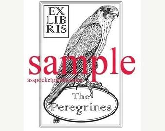 Xmas in July Custom Ex Libris Bookplate Peregrine Falcon Stamp A34