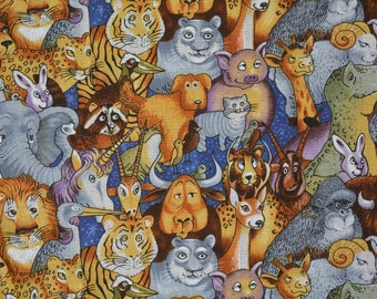 FABRIC Noahs Arc Bible Story ANIMAL fabric Creation by Bill Bell Unicorn Dinosaur Wildlife Zoo fabric