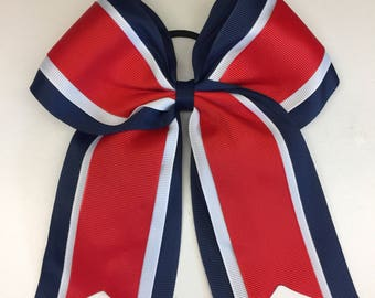 Damaged Red Navy 7 Inch, Cheer Hair Bow, Large Competition, Stiff Cheerleader, Hairbows, Boutique Bows, Layered Ribbon, Varsity Custom, Girl