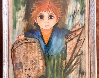 ETIENNE 1965 BIG EYED Paris News Boy Listed French Modernist Painting Midcentury Modern Artist and Movie Actor
