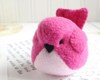 Pink Plush Bird Stuffed Animal Childrens Handmade Fleece Bird