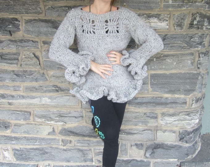 RUFFLED SLEEVE SWEATER/Knit sweater/ womens sweater/ womens knit sweater/sweater/Ruffled sweater/ Gift for her/Holiday gift for her/New!!