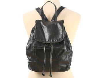 Leather Backpack 90s Black Real Leather Medium size Distressed Faded Rucksack Knapsack Pockets School Grunge