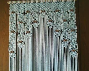 Wood Beaded Arch  Door Decor Curtain Made in Macrame