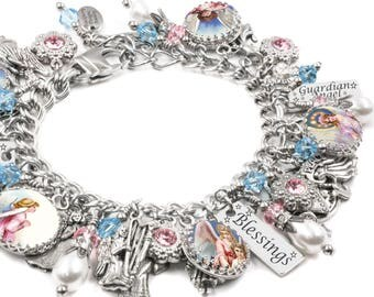 Angel Bracelet with real fresh water pearls, sapphire and rose crystals in stainless steel and sterling silver