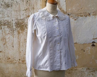 Vintage Antique 1900s French Edwardian ruffled collar handmade embroiderys shirt  polka dots S