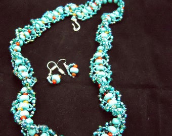 Southwestern Turquoise Woven Necklace and Earrings Set