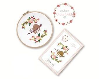 Counted Cross Stitch Kit - Lazy Day / sloth cross stitch, craft kit, embroidery, pattern, gift, fun, dmc, supplies, handmade, instruction