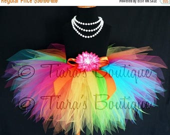 SUMMER SALE 20% OFF Girls Birthday Tutu - Rainbow Tutu - Custom Sewn 11'' Pixie Tutu - Aura - A Magical Rainbow Tutu - sizes newborn up to 5