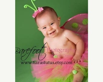 "SUMMER SALE 20% OFF Pink Tutu for Girls - Baby Tutu - Ladybug Tutu & Wings Set - Infant Toddler Ladybug Wings and 8"" Tutu - Babybug - Photo"