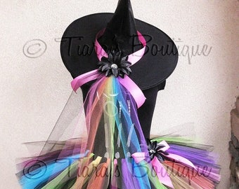 SUMMER SALE 20% OFF Tutu Witch Halloween Costume - Rainbow, the Punk Rock Witch - Custom Sewn Adult Teen 12'' Tutu & Hat