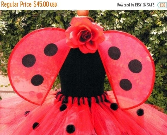 SUMMER SALE 20% OFF Lovely Ladybug - Handmade Wings - very sturdy to last for many years of play - Pair with a tutu for a fun Ladybug Hallow