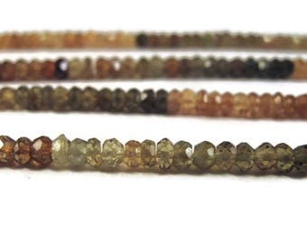 Summer SALEabration - Petrol Tourmaline Beads, Faceted Rondelles, 3.5mm, 6.5 Inches of Microfaceted Gemstones for Making Jewelry (R-Tou3)